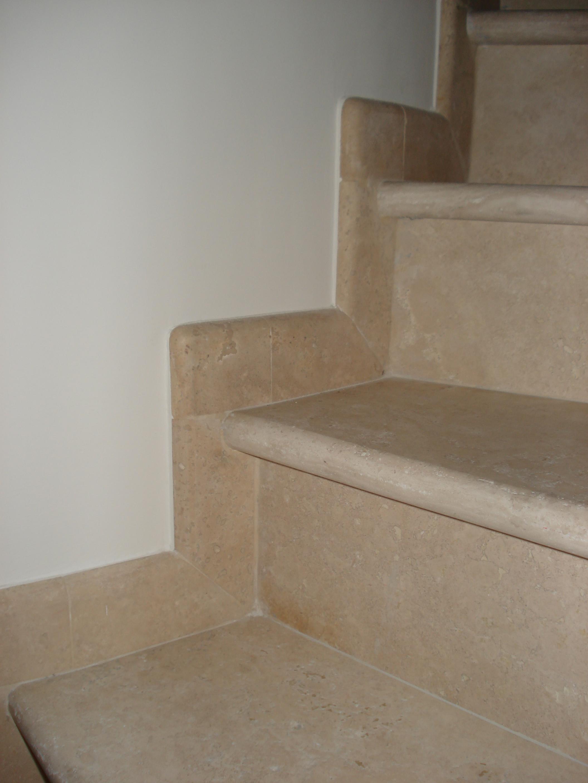 Cross Cut Chiaro Travertine Stairs And Skirting