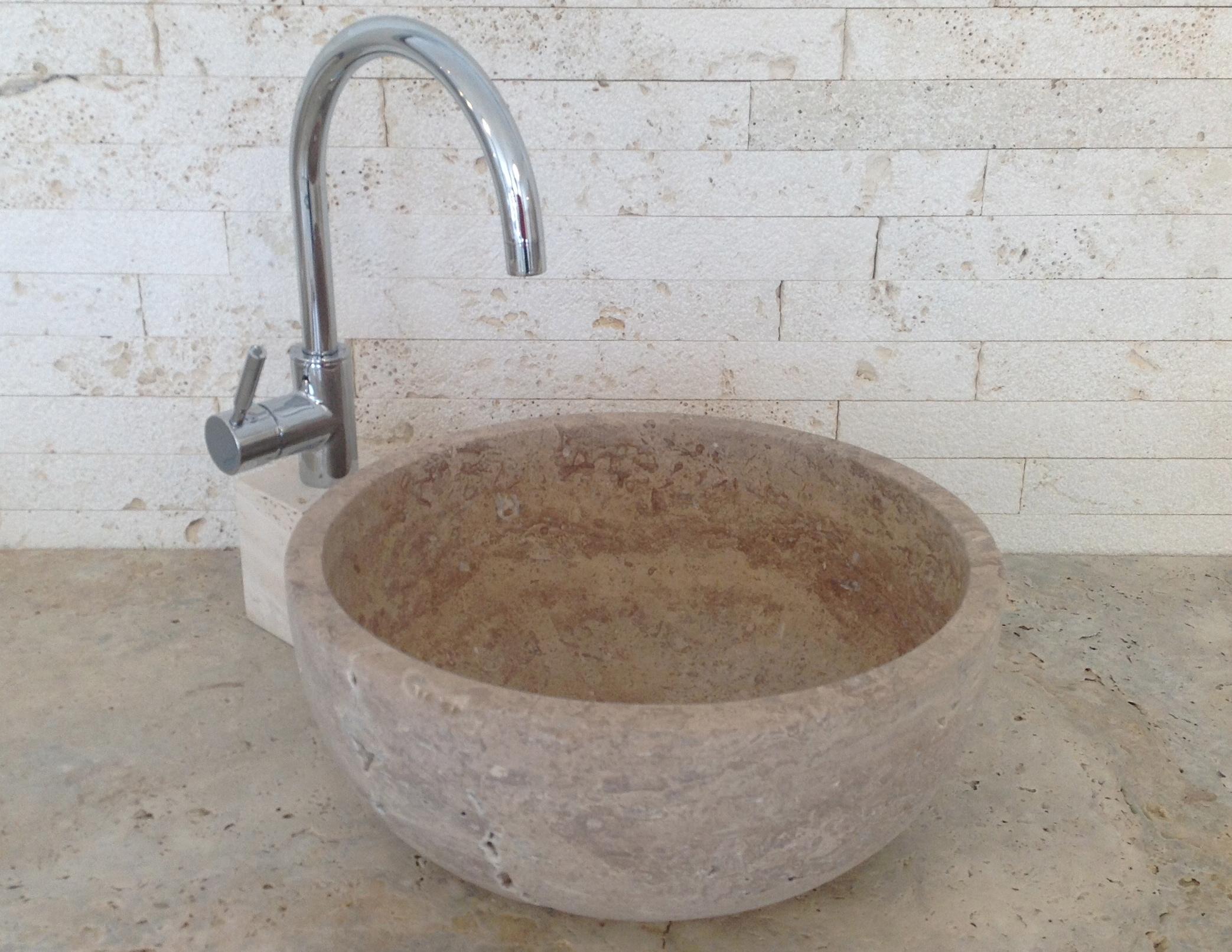 travertino lavabo-conca