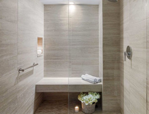 Elegant travertine bathroom