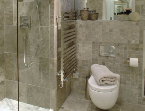 Luxury travertine bathroom